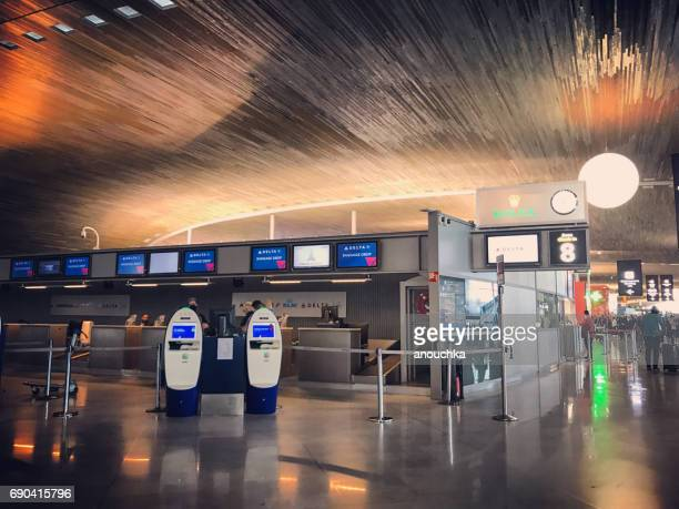 self service check-in machines in roissy charles de gaulle airport, paris, france - charles de gaulle airport stock photos and pictures
