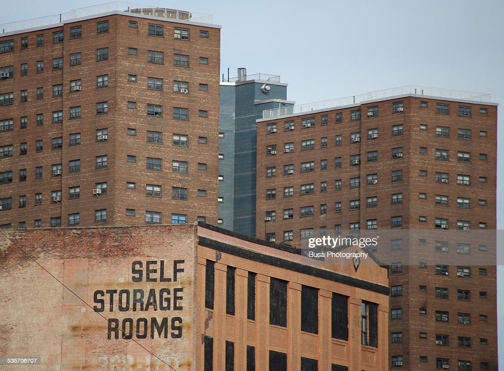 """""""Self Storage Rooms"""" sign in Harlem : Stock Photo"""