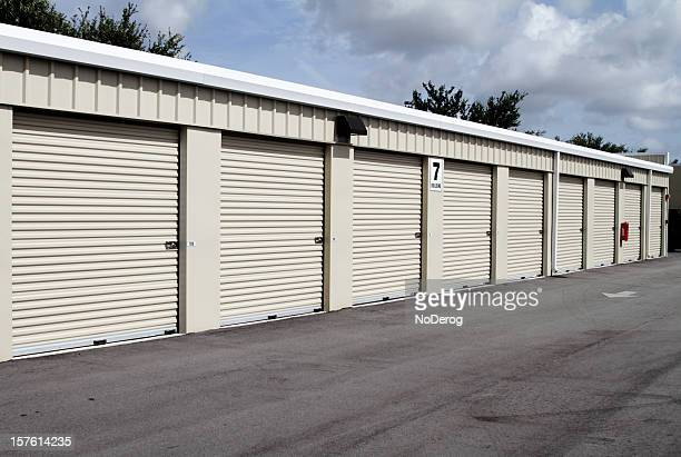 self storage warehouse building with multiple units - industrial door stock pictures, royalty-free photos & images