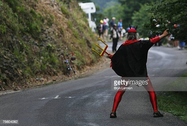 Self-appointed 'Devil of the Tour de France' Didi Senft awaits the riders on stage 15 of the 2007 Tour de France from Foix to Loudenvielle Le Louron...