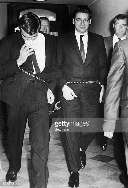 Selfconfessed Boston Strangler Albert DeSalvo is shown shackled to unidentified prisoner as he enters court house Superior Court Judge Amadeo Sgarsi...