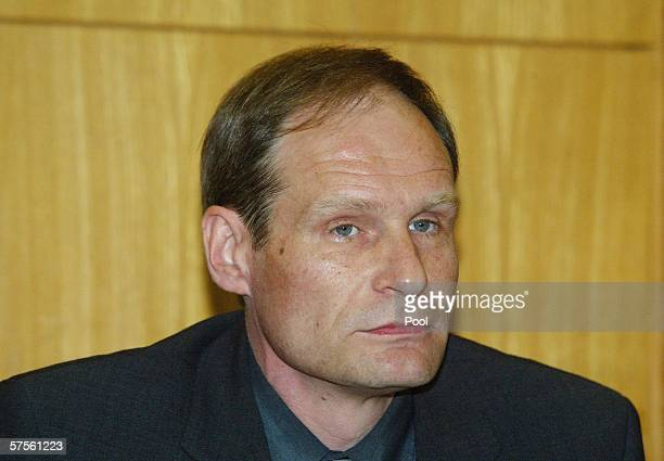 Selfconfessed cannibal Armin Meiwes awaits the verdict in his retrial for murder on 09 May 2006 at court in Frankfurt Germany In the case that...