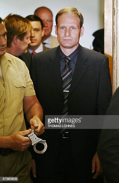 Selfconfessed German cannibal Armin Meiwes arrives for a session of his retrial 09 May 2006 in Frankfurt/M The District Court of Frankfurt sentenced...