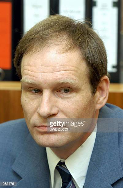 Self-confessed German cannibal Armin Meiwes waits for the beginning of a session in a Kassel court, 09 January 2004. Meiwes, a 42-year-old computer...