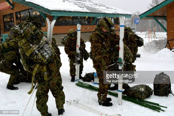 SelfDefense Force members deploying in the rescue operation arrive at the Kusatsu Kokusai Ski Resort on January 23 2018 in Kusatsu Gunma Japan...