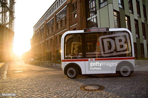 A selfdriving bus is pictured during a presentation of a Deutsche Bahn pilot project on December 16 2016 in Berlin Germany The project is a...