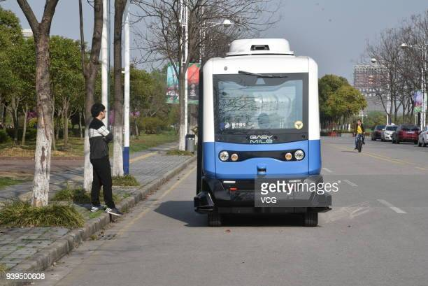 A selfdriving bus is put into operation at Southeast University on March 28 2018 in Nanjing China With the speed limit of 20 kilometers per hour the...