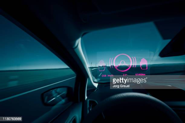 self-driving car - hud graphical user interface stock photos and pictures