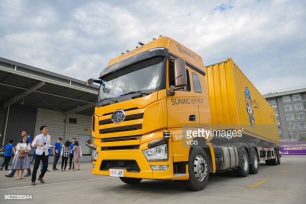 A selfdriving logistic delivery truck is seen during a test at a Suning logistics park on May 24 2018 in Shanghai China The selfdriving truck with a...