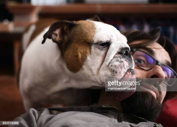 selfie - affectionate dog licks my face - marcoventuriniautieri stock pictures, royalty-free photos & images