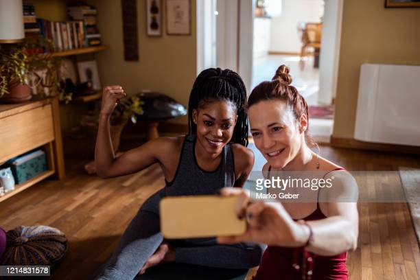 selfie after a yoga workout - instructor stock pictures, royalty-free photos & images