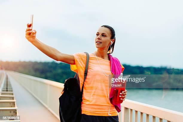 Selfie after successful sport training