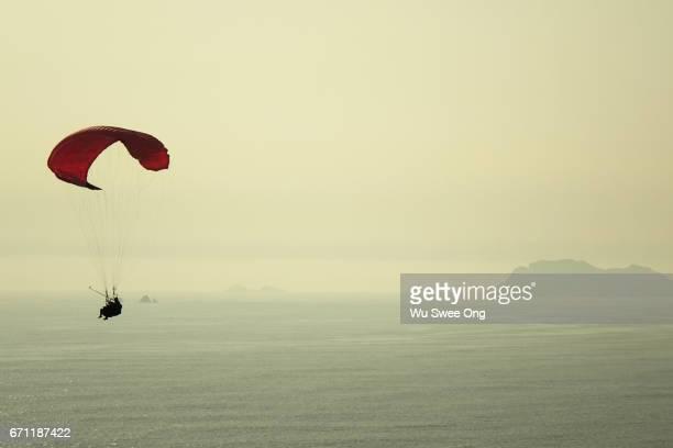 Selfie during tandem paragliding in Miraflores Lima