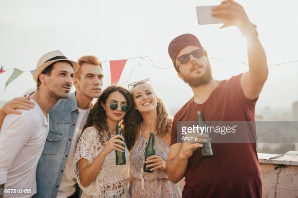 Selfie from a rooftop party