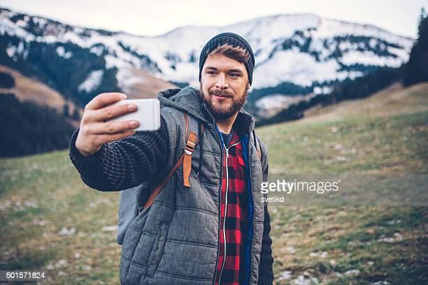 Selfie von der Spitze des Berges