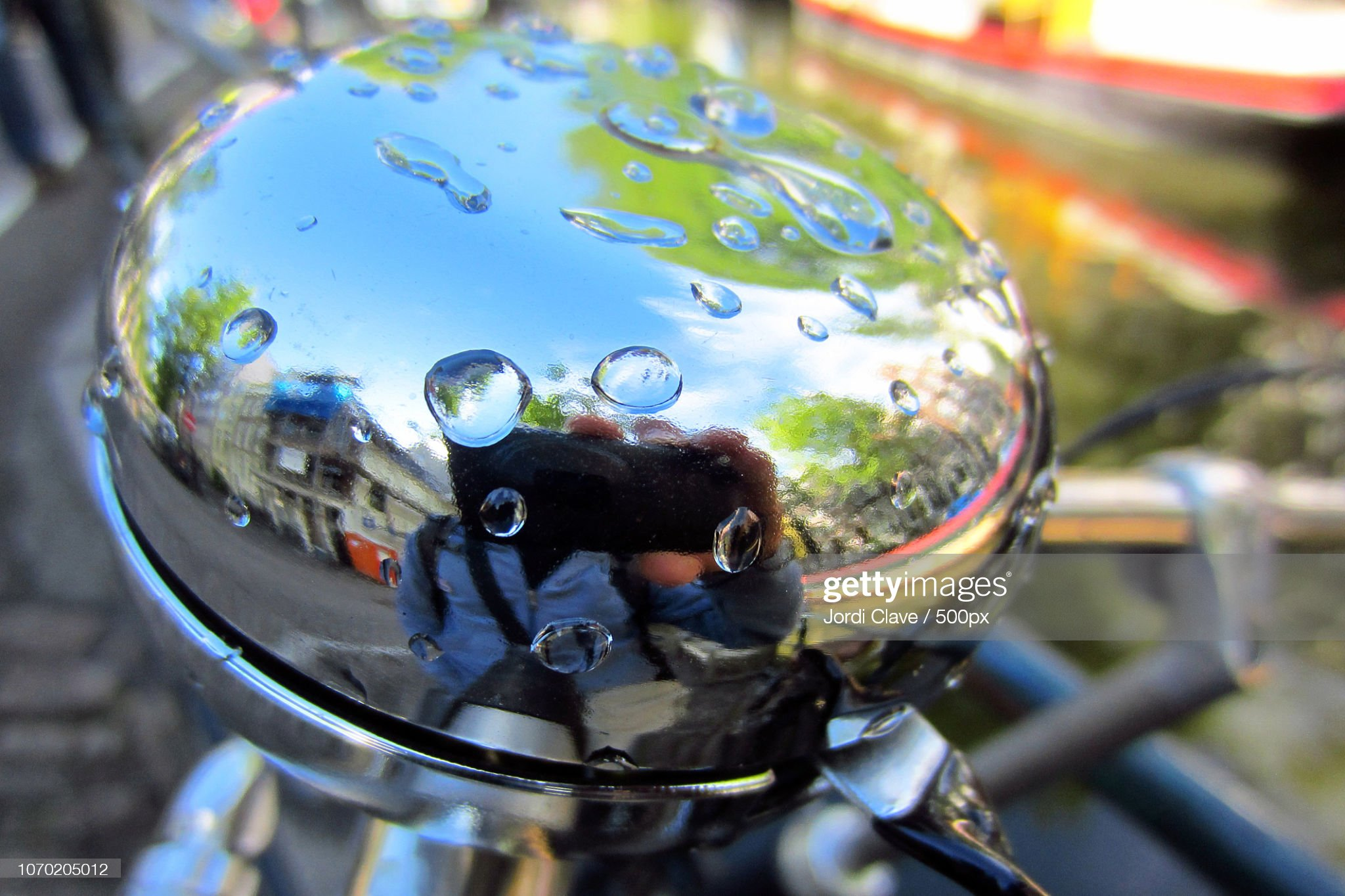 Selfie in a bicycle bell : Stock Photo