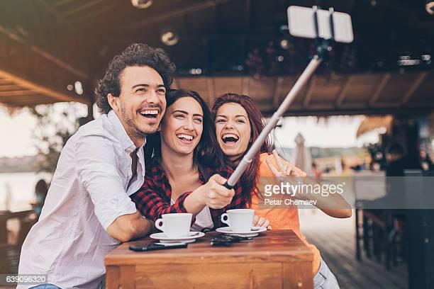 Selfie in cafe in the summer
