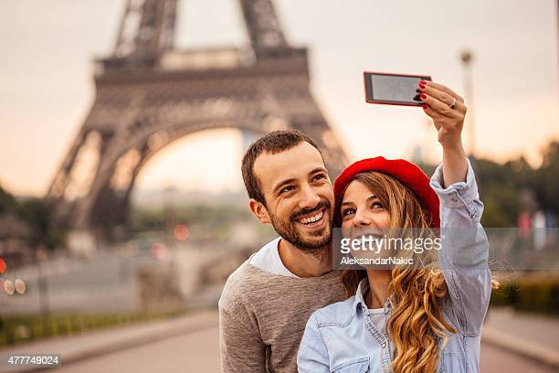 Selfie in front of the Eiffel Tower
