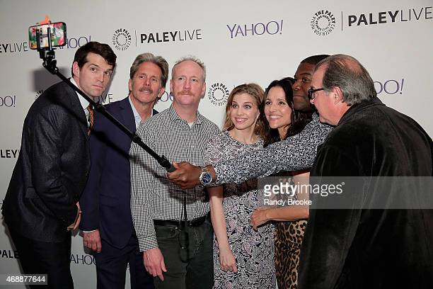 A selfie is taken with Timothy Simmons Gary Cole Matt Walsh Anna Chlumsky Julia LouisDreyfus Sam Richardson and Kevin Dunn at Paley Center For Media...