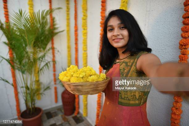 selfie of a teenage girl in traditional indian wear - tradition stock pictures, royalty-free photos & images