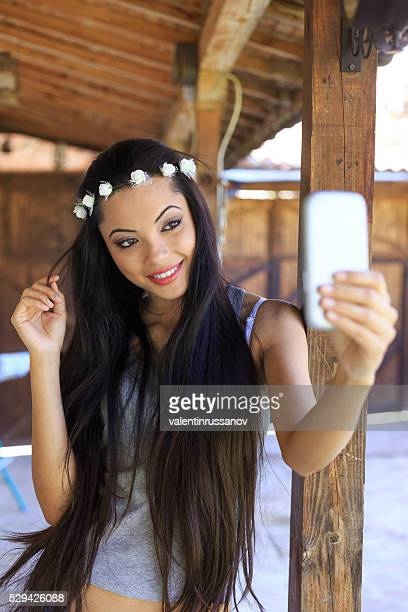 selfie of beautiful young woman - beautiful chinese girls stock photos and pictures
