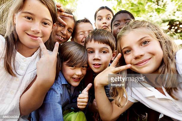 Selfie of school kids