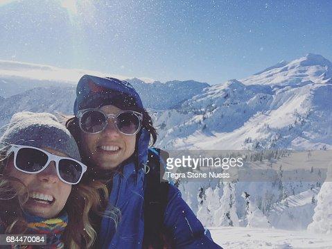 Selfie of two women on Snowy Mountain