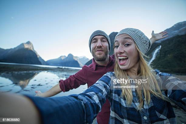 Selfie of young couple hiking