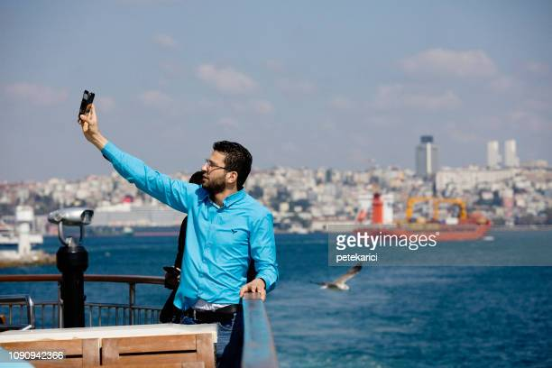 selfie on ferry - ship funnel stock photos and pictures