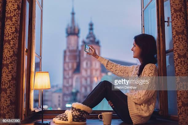 Selfie on the window
