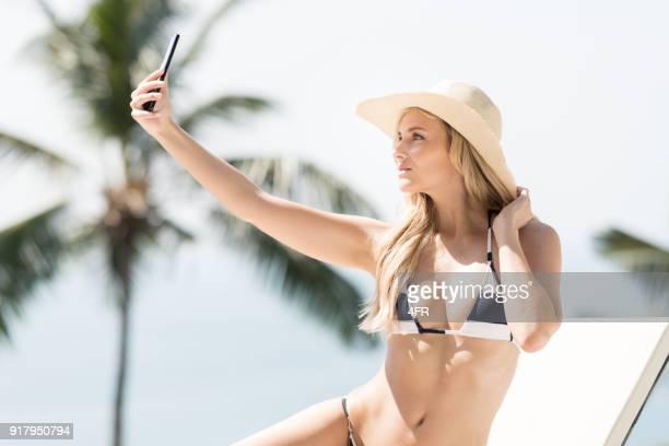 Selfie on Vacation, Bikini Portrait, Beautiful Blond Woman