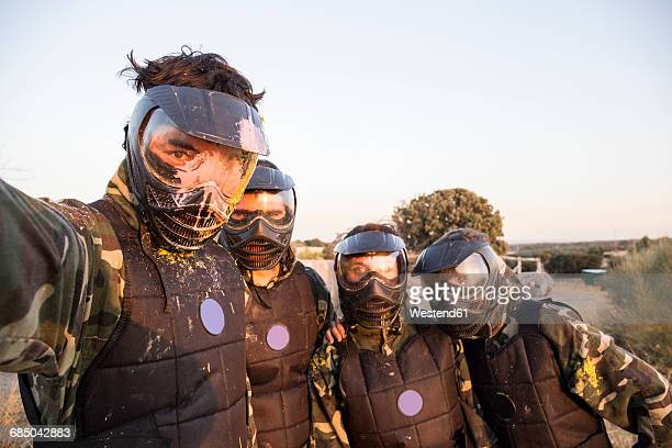 selfie photo of paintball players - paintball foto e immagini stock