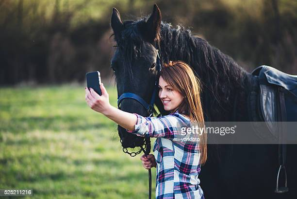 selfie photo with horse - young hairy pics stock photos and pictures