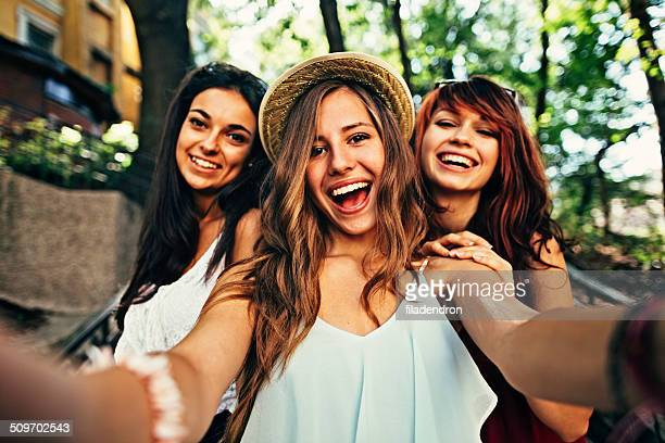 selfie - pretty white girls stock photos and pictures