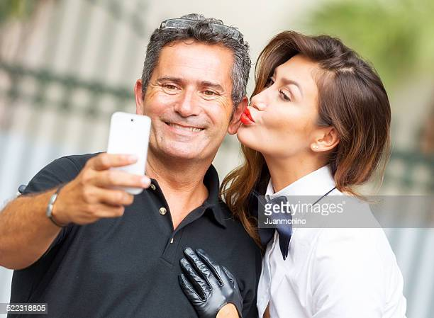 selfie - may december romance stock photos and pictures