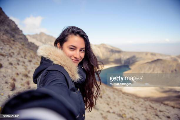 Selfie portrait od smiling woman