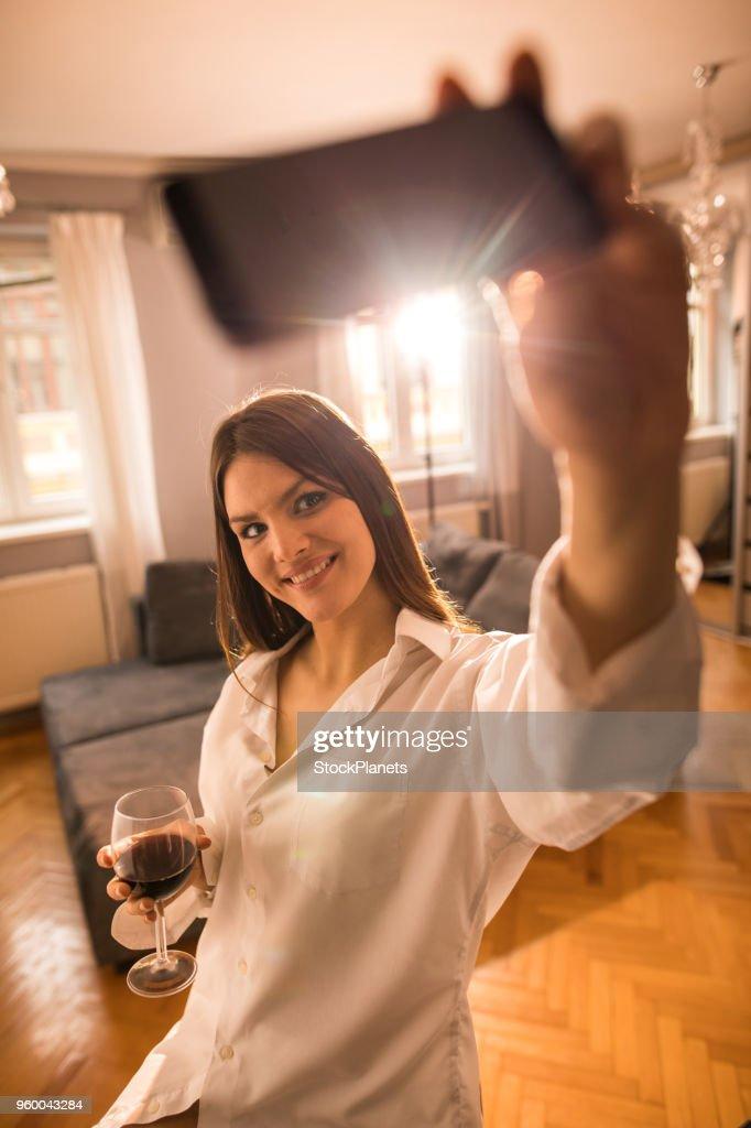 Selfie time for beauty girl : Stock Photo
