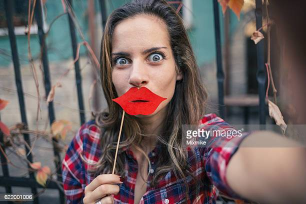 selfie time – fun time - big lips stock photos and pictures