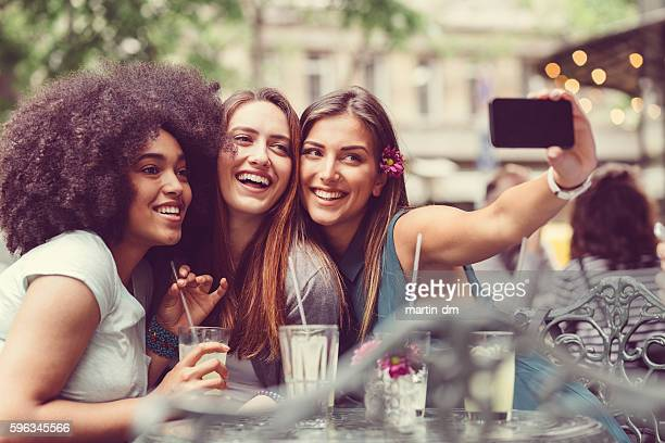 selfie time - pavement cafe stock pictures, royalty-free photos & images