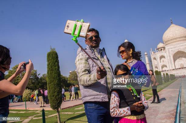 selfie with family at the taj mahal in agra