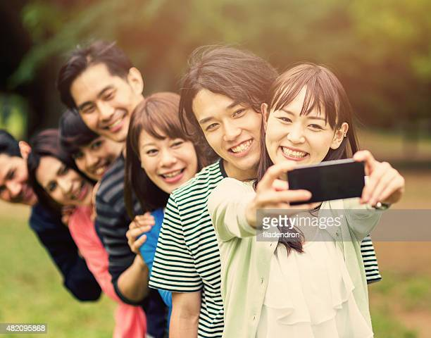 Selfie with friends in the park