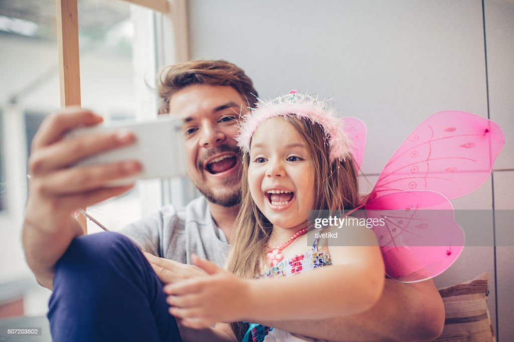 Selfie with my little  fairy : Stock Photo
