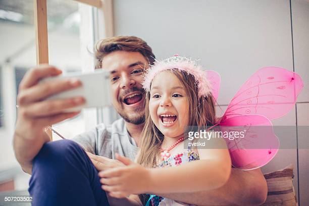 selfie with my little  fairy - daughter photos stock photos and pictures