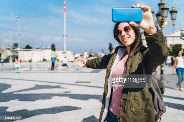 selfies in skopje, north macedonia - incidental people stock pictures, royalty-free photos & images