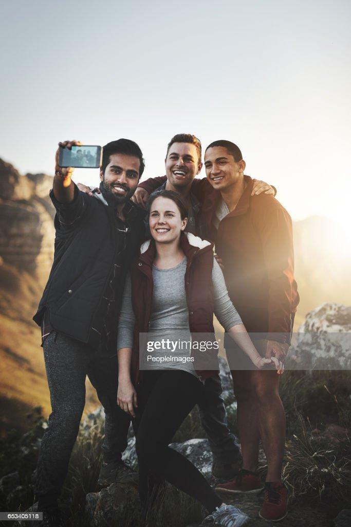 Selfies on the summit : Stock Photo