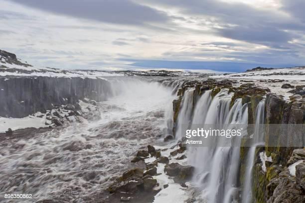 Selfoss waterfall on the river Jokulsa a Fjollum in in the Jokulsargljufur canyon in winter Northern Region in Iceland