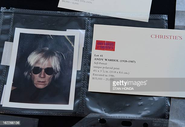 'SelfPortrait' a polaroid print ca 1986 by Andy Warhol on display during a preview of highlights of 'Andy Warhol @ Christie's' February 21 2013 at...