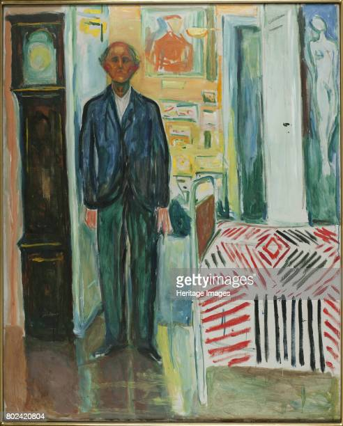 SelfPortrait Between the Clock and the Bed 19401942 Found in the collection of Munch Museum Oslo
