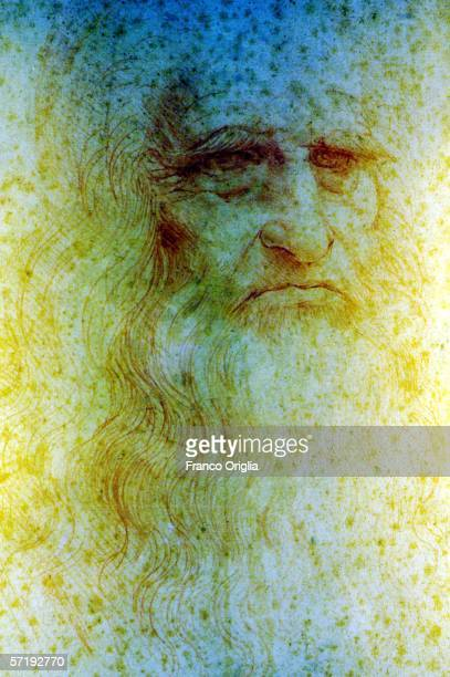 A selfportrait by Leonardo is seen at the Leonardo Da Vinci exhibition vernissage at the Uffizi Gallery on March 27 2006 in Florence Italy The...
