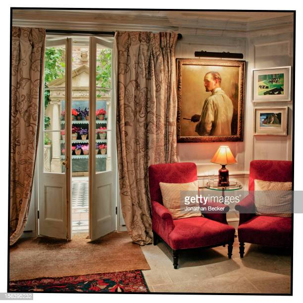 Self-portrait by painter Sir Oswald Birley is proudly displayed for guests to see as they enter the fragrant courtyard is photographed at 5 Hertford...